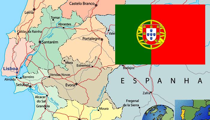 Mapa e Bandeira de Portugal