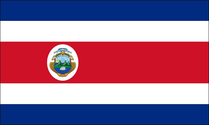 Bandeira da Costa Rica com brasão