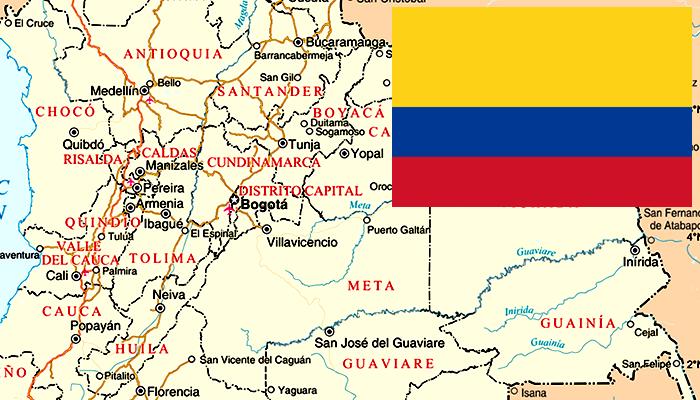 Mapa e Bandeira da Colômbia