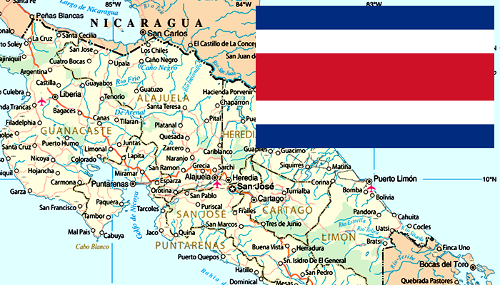 Mapa e Bandeira da Costa Rica
