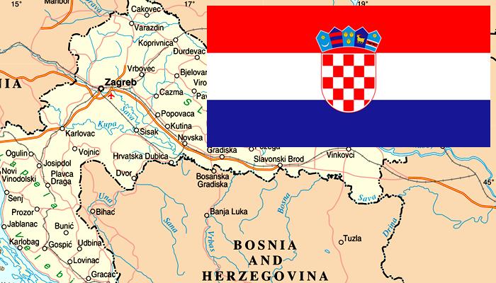 Mapa e Bandeira da Croácia