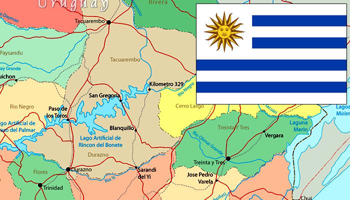 Mapa e Bandeira do Uruguai