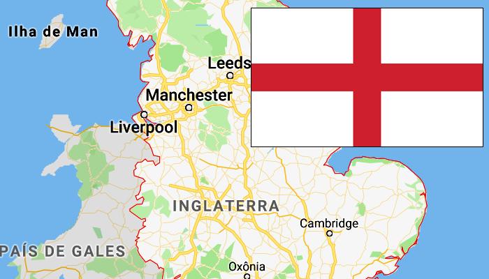 Bandeira e Mapa da Inglaterra