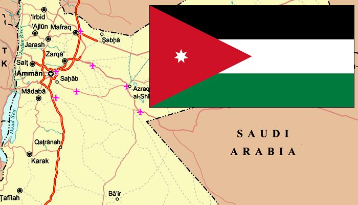 Bandeira e Mapa da Jordânia