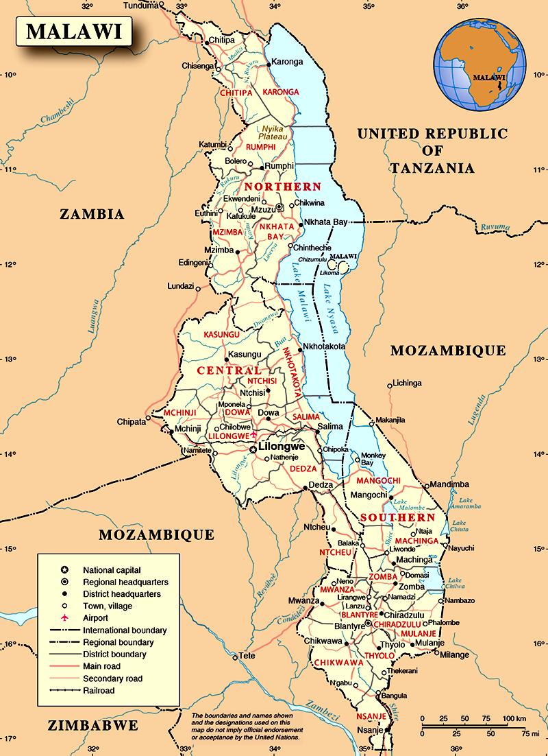 Mapa do Malawi (Maláui)
