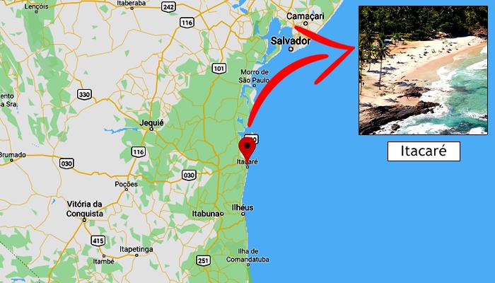Mapa: Onde fica Itacaré-BA