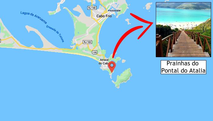 Mapa: Onde ficam as Prainhas do Pontal do Atalaia