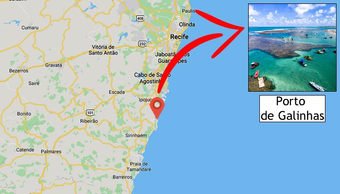 Mapa: Onde fica Porto de Galinhas