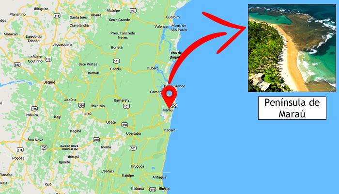 Mapa: Onde fica a Península de Maraú (BA)?