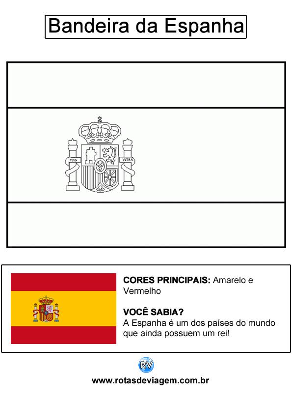 Bandeira da Espanha para colorir (em preto e branco): IMAGEM