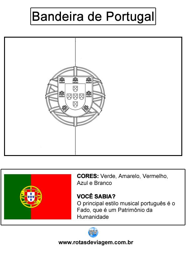 Bandeira de Portugal para colorir (em preto e branco): IMAGEM
