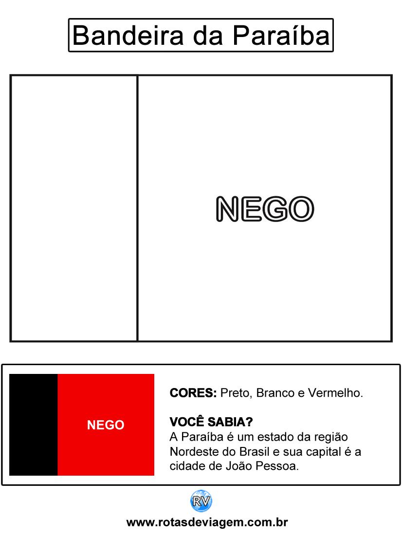 Bandeira da Paraíba para colorir (em preto e branco): IMAGEM