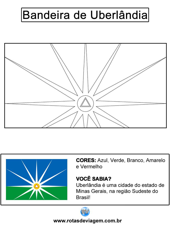 Bandeira de Uberlândia para colorir (em preto e branco): IMAGEM