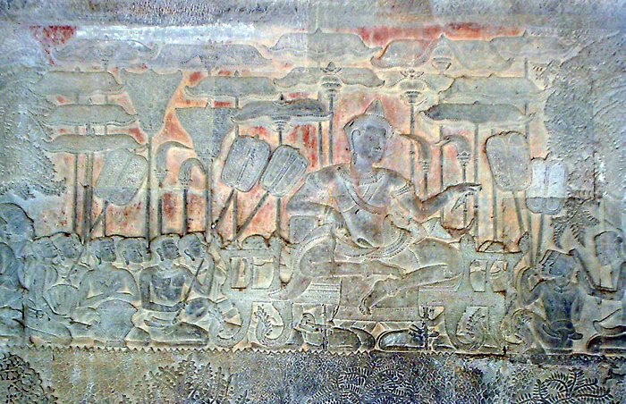Suryavarman II representado em parede de Angkor Wat