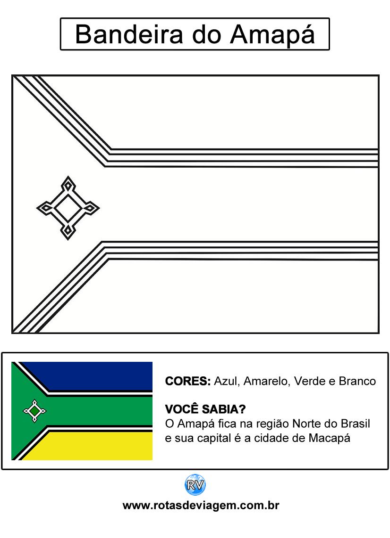 Bandeira do Amapá para colorir (em preto e branco): IMAGEM