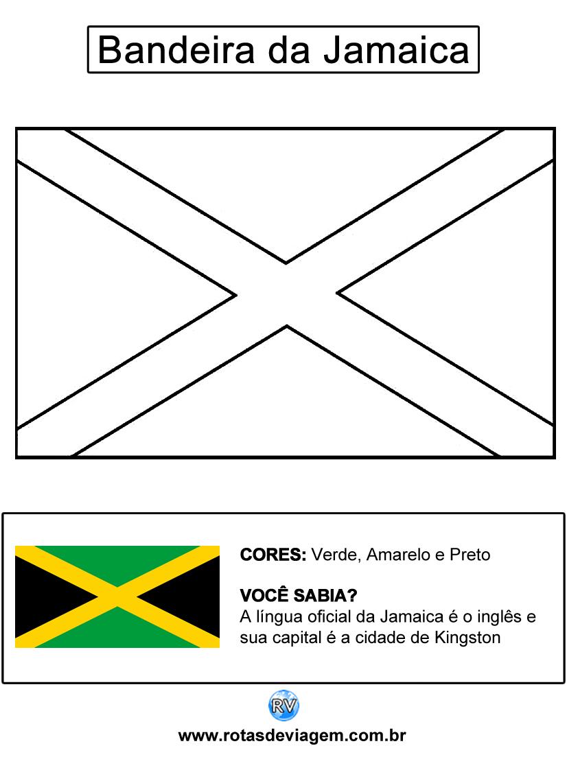 Bandeira da Jamaica para colorir (em preto e branco): IMAGEM