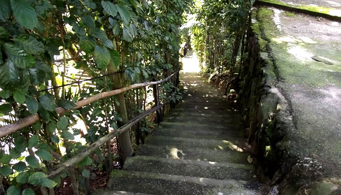 Praia do Éden (Guarujá/SP): Escadaria de acesso a partir do estacionamento
