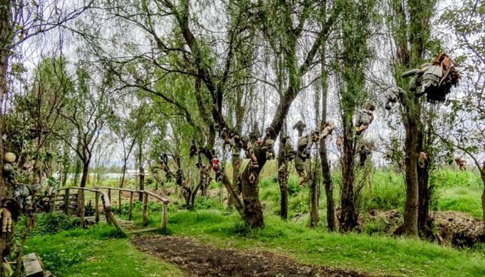 Trilha com as bonecas penduradas nas árvores - Ilha das Bonecas (México)